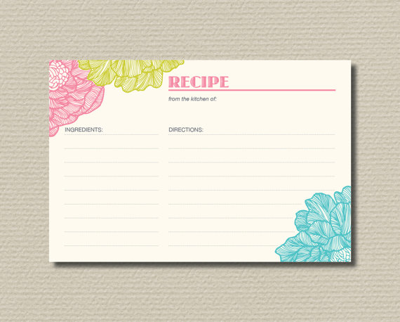 Wedding - Bridal Shower Recipe Cards - Bright, fresh floral design (BR19)