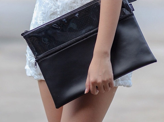 Hochzeit - Clear Clutch Black Leather Transparent Wristlet Cross Body Bag Shoulder Handbag for Wedding Party