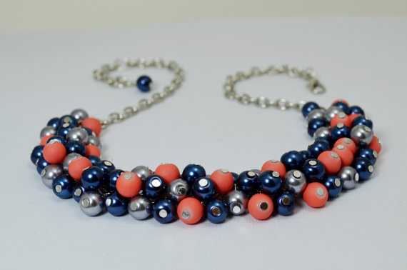 Mariage - Dark Blue, Coral and Gray Pearl Necklace, Pearl Necklace, Coral Chunky Necklace, Gray Bridesmaid Jewelry, Bridal Jewelry, Chunky Necklace