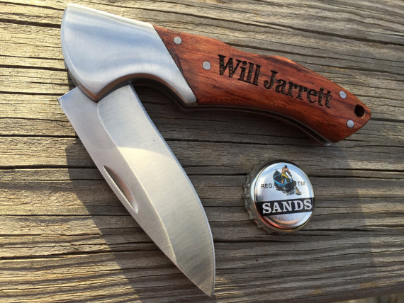 Hochzeit - 1 Personalized Pocket Knife,Groomsmen Gift, Best Man Gift,Survival Knife,Hunting Knife,Fishing Knife, Father's Day For Wedding