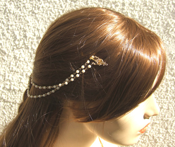 Hochzeit - Gold Bridal Headpiece, Pearl Chain Headband, Bridal Halo, Wedding Headband, Bridal Hair Piece, Forehead Jewelry