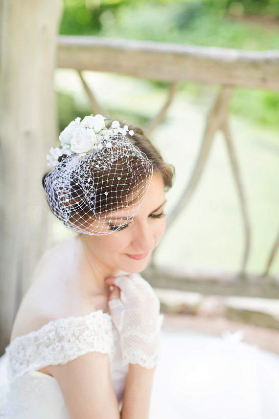 Mini Birdcage Veil Sparkly Swarovski Crystals Small White Wedding Wedge Bridal Bird Cage STARLIGHT