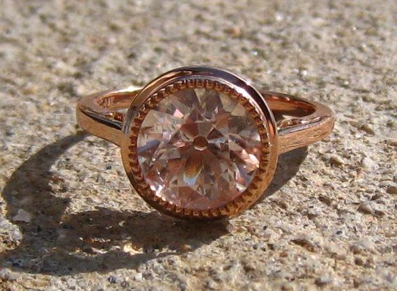 Mariage - Reserved for Troy... Morganite Rose Gold Milgrain Bezel Engagement Ring
