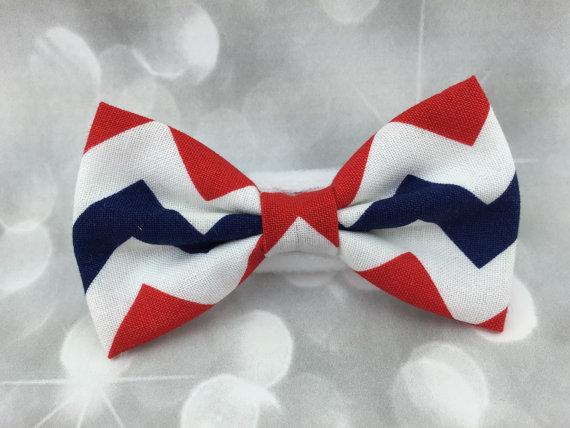 زفاف - Patriotic Chevron Fourth of July Small Pet Dog Cat Bow / Bow Tie