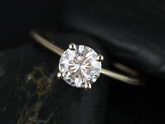 زفاف - Skinny Alberta 6.5mm 14kt Yellow Gold Round FB Moissanite Tulip Solitaire Engagement Ring (Other metals and stone options available)