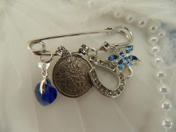 Свадьба - Something old -Something New - Something Borrowed - Something Blue - Brides keepsake Pin