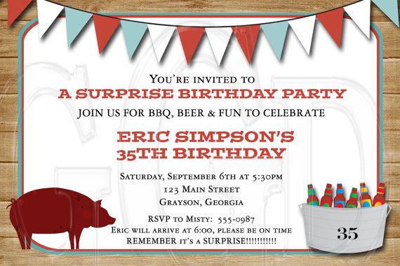 bbq shower birthday or retirement party invitation digital file