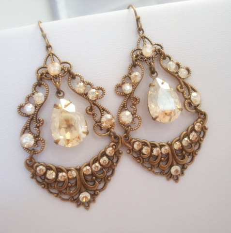 Vintage Chandelier Earrings Bridal Wedding Jewelry Antique Br Rhinestone Swarovski Crystal