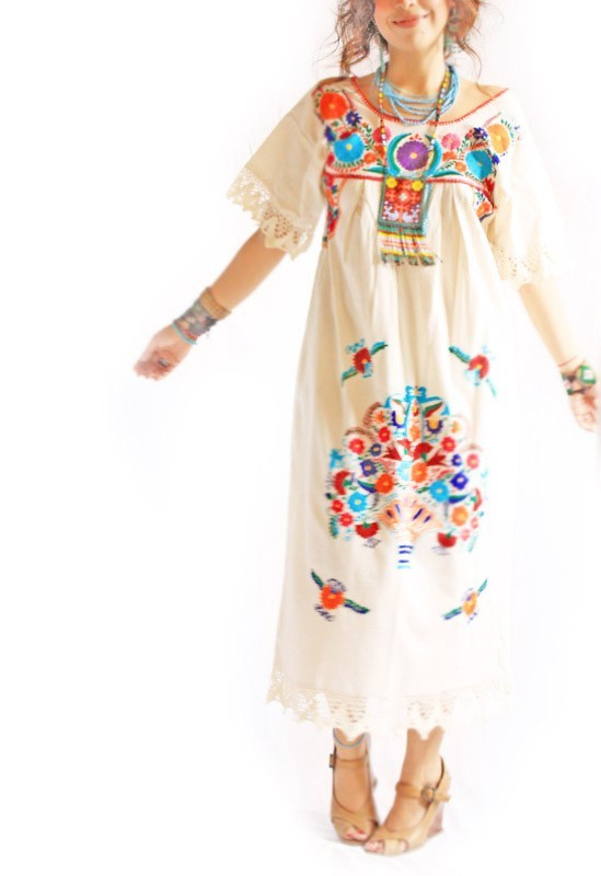 0093b9294a Vintage Romantic crochet lace Mexican embroidered wedding fiesta maxi dress