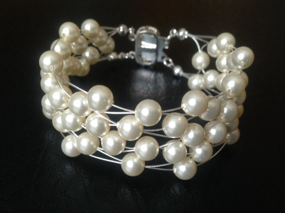 Wedding - Swarovski Pearl Bracelet Multi Strand Cuff Bridal Wedding Jewelry Floating Wire Venessa