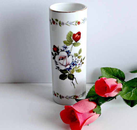 Otagiri Rose Bouquet Vase Gold Gilded Rim Made In Japan Porcelain