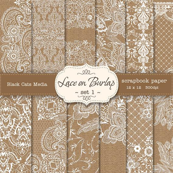 Burlap And Lace Digital Paper Wedding Invitation