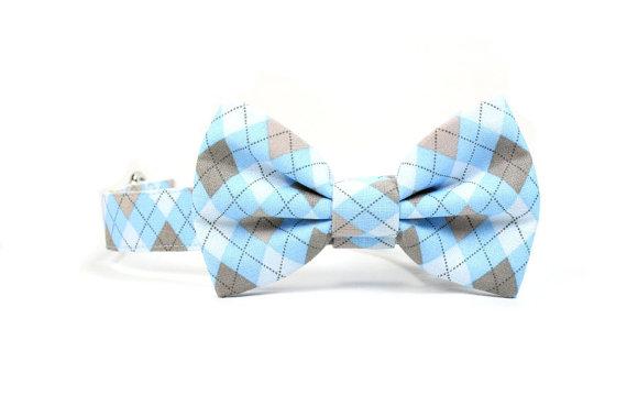 Свадьба - Blue Argyle Dog Bow Tie Collar Grey White Wedding Dog Bowtie Collar