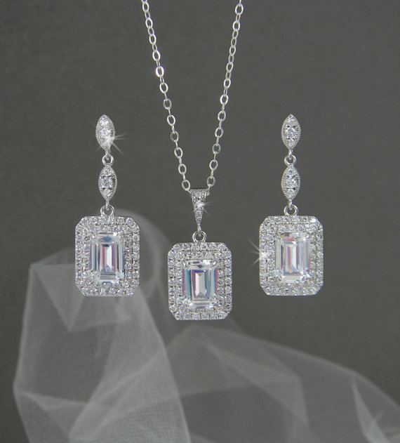 Emerald Cut Bridal Earrings Square Halo Crystal Wedding Necklace