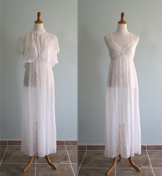 Свадьба - Vintage 1980s Nightgown and Shrug - Pure White Lace Sheer Nightgown with Matching Lace Jacket - 80s Wedding Night Negligee S M
