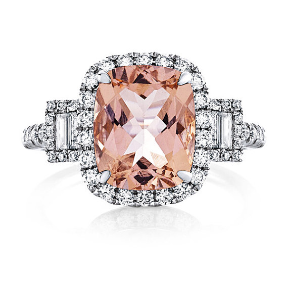 Mariage - RESERVED Payment For Kenneth Morganite ENGAGEMENT RING 4.55cttw  14k White Gold Diamond Halo  Wedding Ring