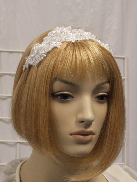 Mariage - White Lace Bridal Head Piece Wedding Veil Alternative Headband