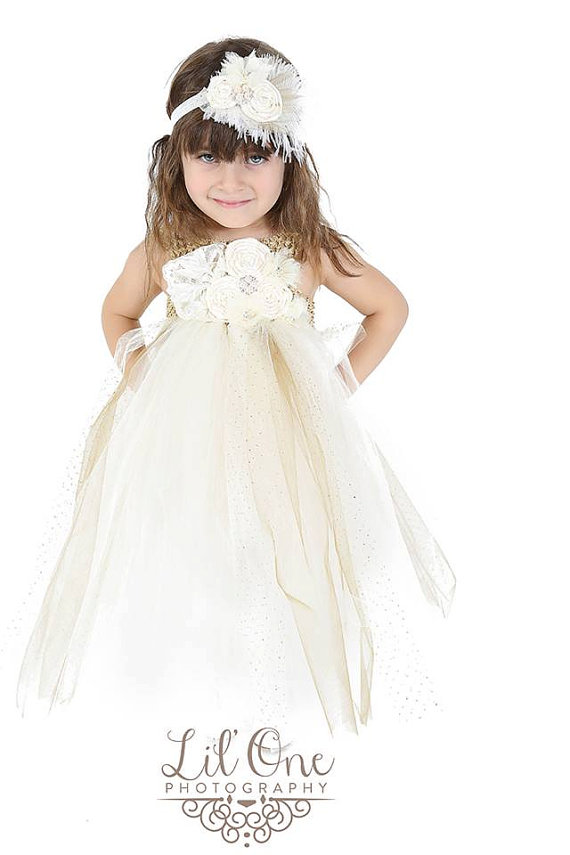 Hochzeit - Vintage Ivory Gold Flower Girl Dress.. Flower Girl Tutu Dress.. Lace Flower Girl Dress