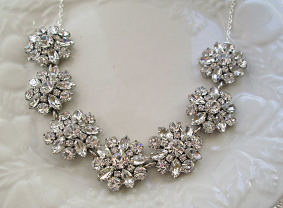 Wedding Necklace Silver Crystal Statement Bridal JewelryStatement JewelryCrystal Bouquet Collection Clear