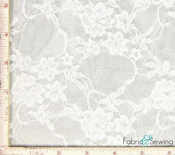 "Свадьба - White Small Flower Stretch Lace Fabric 4 Way Stretch Nylon Spandex 4 Oz 57-58"""
