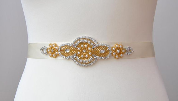 Mariage - Gold Rhinestone Sash, Pearls Rhinestones Bridal Sash ,Wedding Dress Sash Belt, Rhinestone Bridal Bridesmaid Sash Belt, Wedding dress sash