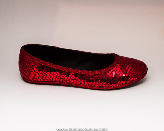 Свадьба - Sequin Red Ballet Flats Slippers Shoes by Princess Pumps