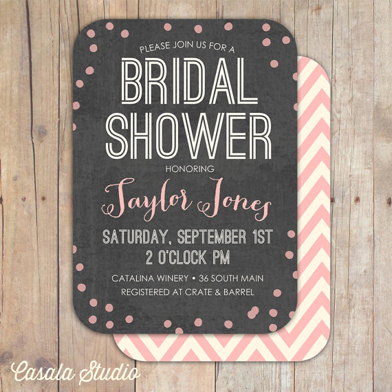 Hochzeit - Whimsical Dots and Chevron Chalkboard Bridal Shower Invitation Baby Shower Invite Printable or Professionally Printed Cards