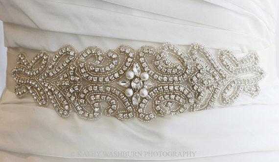 """زفاف - Rhinestone Bridal Crystal Sash Belt with Pearls, 3"""" wide pearl wedding sash, wedding belt - FARAH III - Ships in 1 week"""