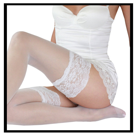 Свадьба - Vintage bridal stockings white nylon hose sheer lingerie wedding hosiery lace top