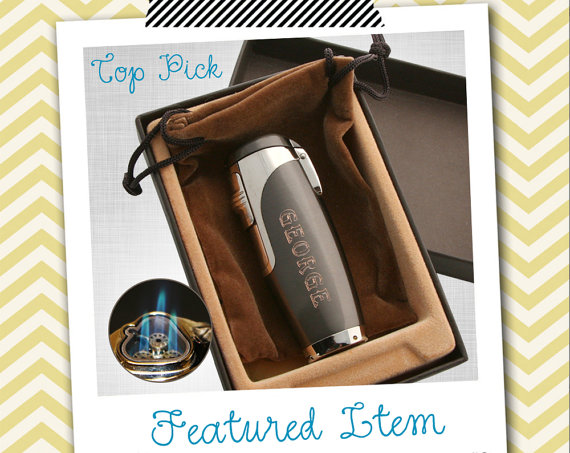 Hochzeit - 1 Groomsmen Gift Mens PERSONALIZED Lighter Engraved Lighter Cigar Lighter Torch Lighter Cuban Punch Groomsman Gift Engraved Father Gift