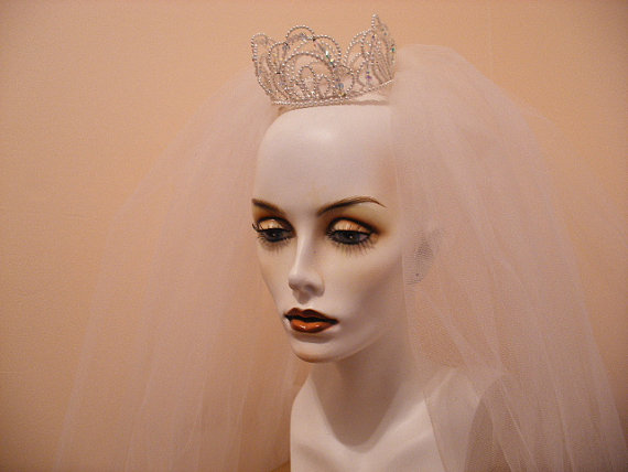 Mariage - Fairytale Princess Vintage Wedding Veil In A White Tulle Netting With A Glass And Pearl Beaded Crown