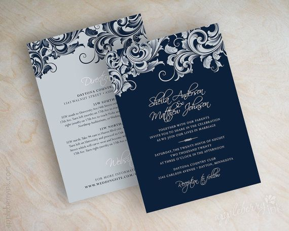 Wedding Invitations Victorian Filigree Pattern Design Stationery In Navy Blue Silver And White Jora