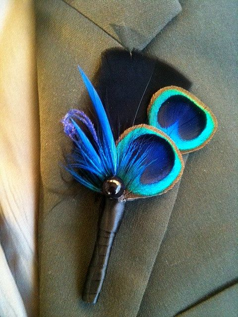 Wedding - 2 Fabulous Peacock Boutonnieres - CUSTOMIZE Peacock Feather Boutonnière Package-Peacock Wedding-Peacock Groom
