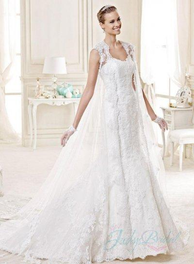 Sweetheart Wedding Dress with Cape