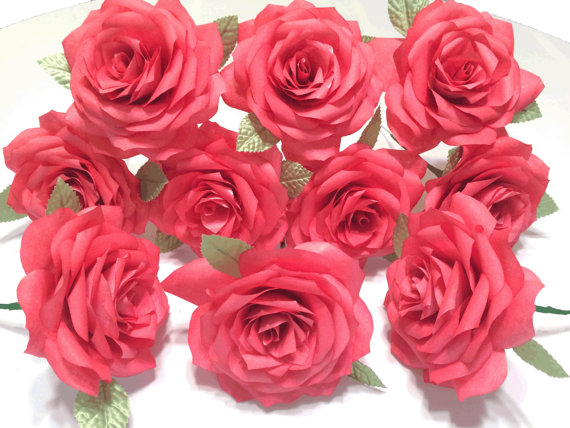 One dozen red roses paper roses for first wedding anniversary one one dozen red roses paper roses for first wedding anniversary one coffee filter rose fake flowers gifts for her handmade paper flowers mightylinksfo