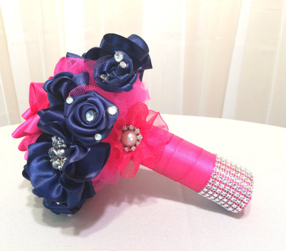 Navy blue and hot pink satin ribbon flower bouquet with pearl and navy blue and hot pink satin ribbon flower bouquet with pearl and rhinestone brooches hot pink pearl brooch bouquet navy fabric bouquet mightylinksfo