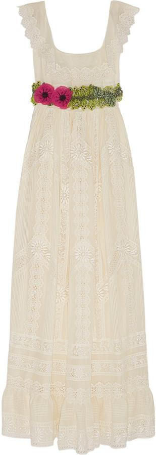 Wedding - Valentino Embroidered cotton-voile gown