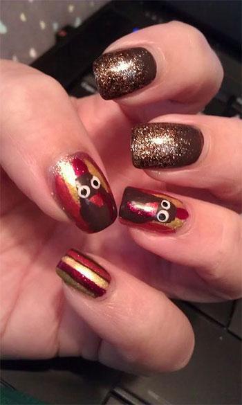 Cute & Straightforward Thanksgiving Nail Artwork Designs