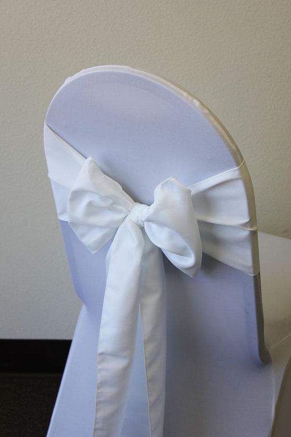 Свадьба - White Lamour Satin Chair Sash