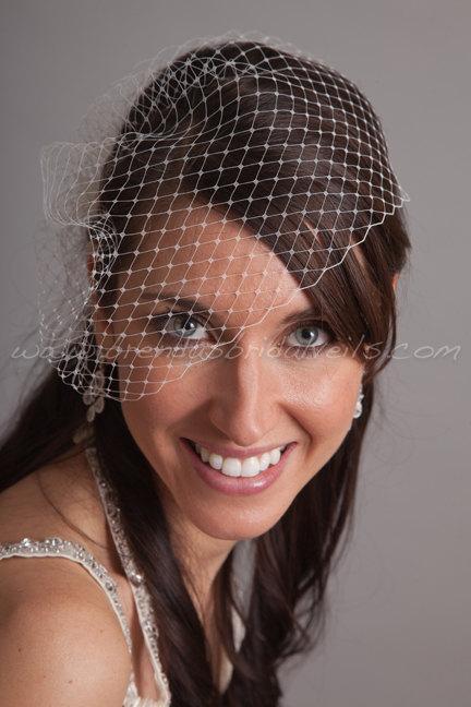 Hochzeit - Bridal Veil, Wedge Birdcage Veil, Wedding Veil - White, Ivory, Diamond White, Champagne, Black and More Colors