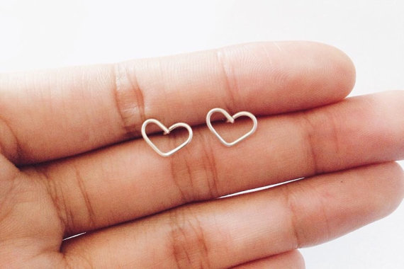 Mariage - Heart stud earrings, heart earrings. tiny earring. gold earring. bridesmaids gift, wedding gift. valentines day gift