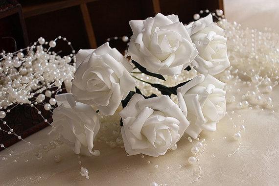 72 Pcs White Roses Foam Fake Flowers For Bridal Bouquet Wedding
