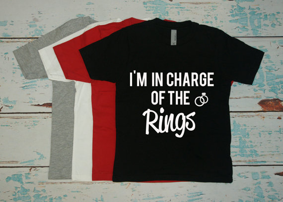 Wedding - Ring Bearer T-Shirt. I'm In Charge of the Rings tee shirt. Boys wedding tee. Usher t-shirt for wedding. Ring bearer shirt with rings.