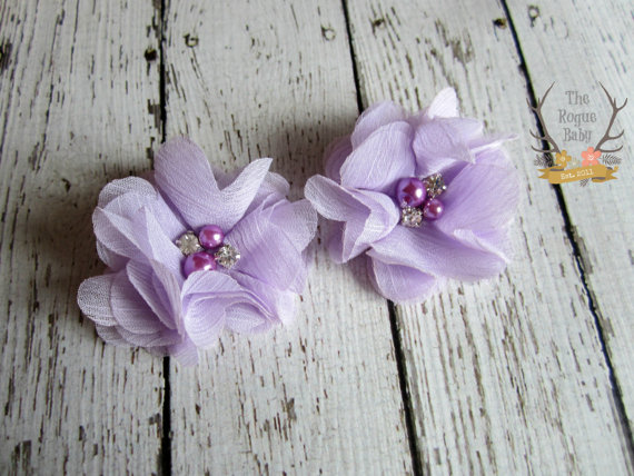 Wedding - Lavender  Shoe Clips - Lilac Shoe Clips - Flower Shoe Clips Wedding Bride Bridesmaid Flower Girl Pearl Rhinestone Bridal Light Purple