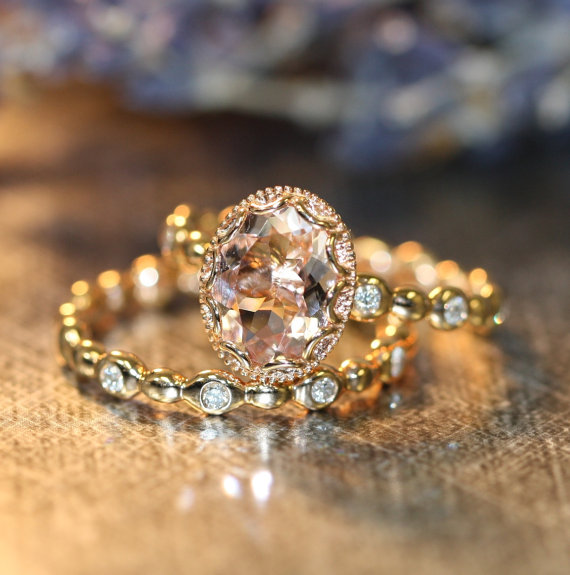 Floral Morganite Wedding Ring Set In 14k Rose Gold, 9x7mm Oval Morganite  Engagement Ring And Pebble Diamond Wedding Band (Custom Made Ok)