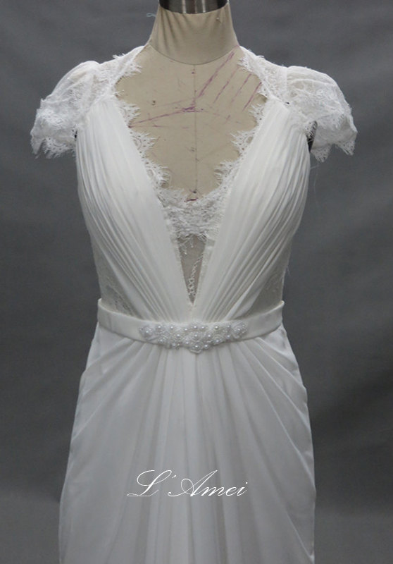 Mariage - Lace Open Back Bohemian Beach Wedding Dress with Sash