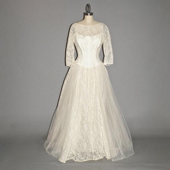 Boda - 1950s Wedding Dress, 50s Dress, Ivory Tulle and Lace Bridal Dress, Medium