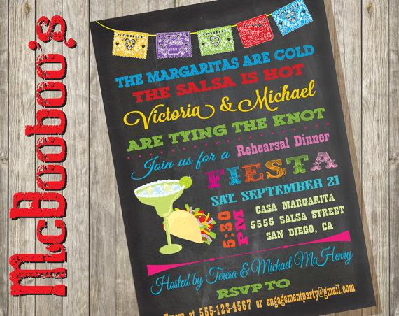 Mariage - Chalkboard Mexican Fiesta Rehearsal Dinner Invitations