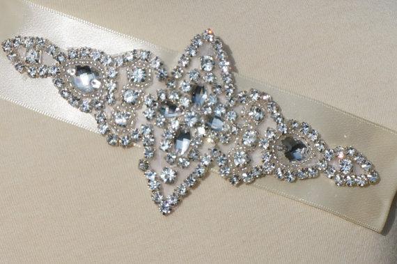 Hochzeit - Rhinestone Headband, Bridal Headband, Silver Art Deco Head Piece,white headband, christening headband,white Baby Headband, Infant Headband