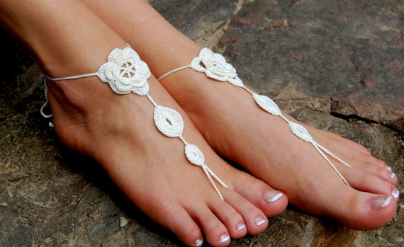 Hochzeit - Crochet Beach Wedding Shoes, Crochet Barefoot Sandals, Anklet, Wedding Accessories, Nude Shoes, Yoga socks, Foot Jewelry